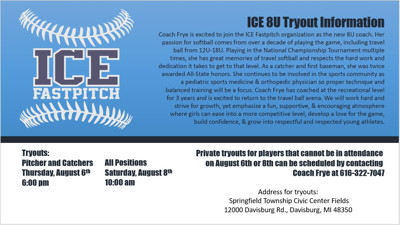 ICE 8U Tryout Flyer